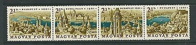 Hungary 1961 Stamp Day & International Stamp Exhibition strip of 4 MNH