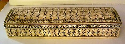 Antique VTG Camel BONE Teak Pencil Ink Hinged BOX Hand painted DESIGN INDIA 12""