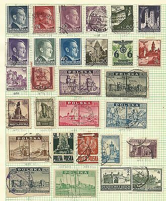 Poland Album page of 1940 - 1946 issues - used & hinged mint