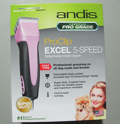 Andis EasyClip Pro Animal 5-Speed Detachable Blade Clipper Grooming Kit Pink
