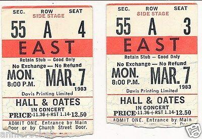 Hall & Oates Concert Ticket Stubs Toronto Maple Leaf Gardens #698-March 7-1983