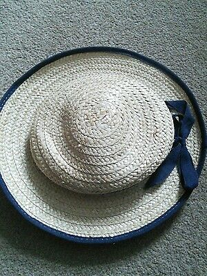1940s style straw boater hat for girls