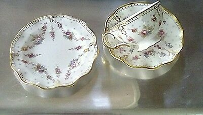 Royal Crown Derby 1st quality Antoinette Tea Cup & Saucer and Side Plate