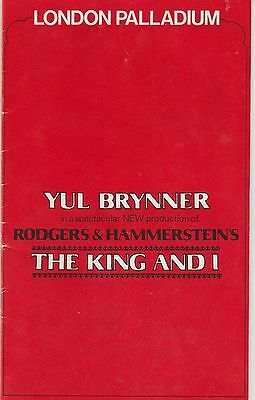 the london palladium yul brynner the king and i   programme