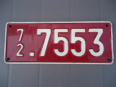 Official 1972 Transit License Plate from Belgium