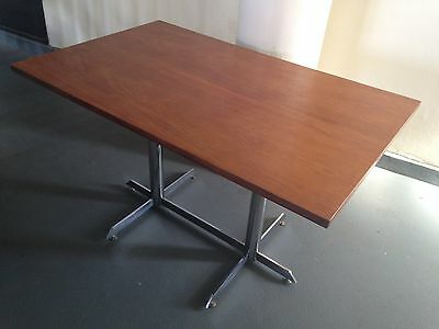 1970s Teak & Chrome Dining Table Desk Mcm Modernist Pieff Merrow Era Vintage