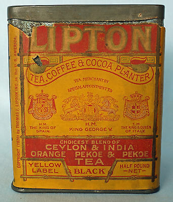 Rare Vintage 1920 Lipton Yellow Label Tea Tin Half Pound with Paper Label