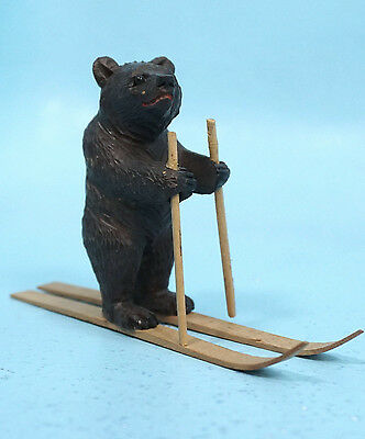 Antique Swiss Black Forest Wood Carving Bear on Skis Glass Eyes Brienz c1920s