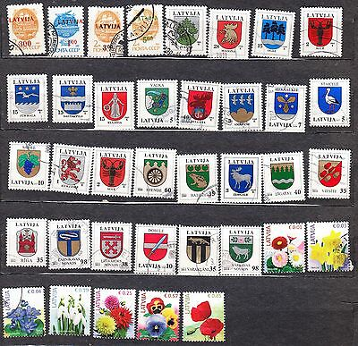 Latvia Definitive Used Stamps Ovp & Coa & Flowers 37 Diff.