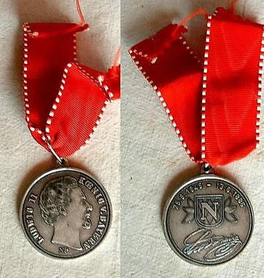 Germany - Ludwig Ii King Of Bavaria 25.8.1845 - 13.6.1886. Medal With Ribbon