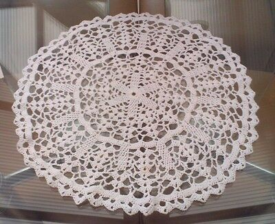 Large Vintage White Hand Crocheted Cotton Doily / Small Tablecloth