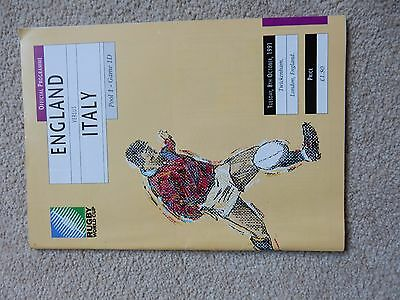 England Italy Rugby World Cup Programme 8th October 1991