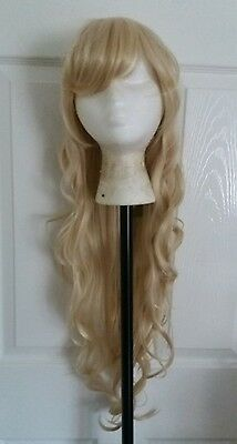 Long Blonde Curly Wavy Synthetic Wig - Cosplay - NEW
