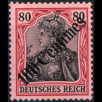 GERMAN PO's in TURKEY 1908 100c on 80pf Ovpt. SG 64. Lightly Hinged Mint (AR322)