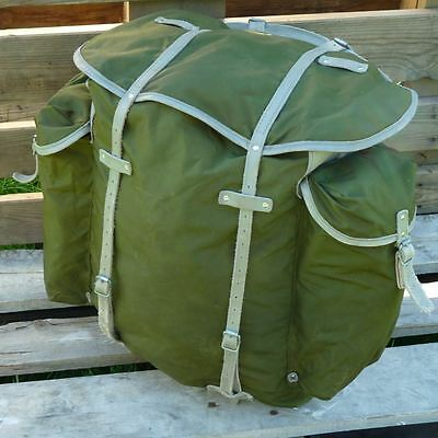 Norwegian Army Rucksack Leather Synthetic Canvas Vintage Military Pack Bergen