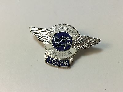 Vintage - Sterling WW2 Pin Curtiss Wright Production Soldier 100% Silver Wings