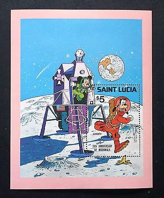 DISNEY stamp on Souvenir Sheet SAINT LUCIA 10th Anniversary of MOONWALK 1979 MNH