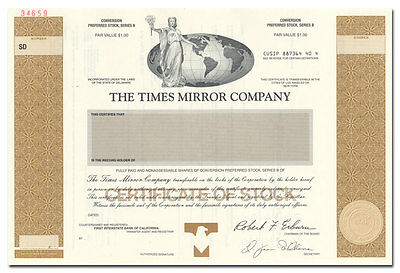 Times Mirror Company Specimen Stock Certificate (LA Times, Newsday)
