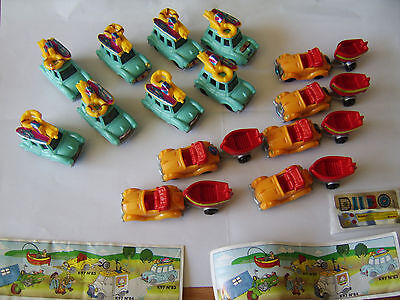 Vintage Kinder egg toy cars x 14 holiday vehicles + 2 papers 1996