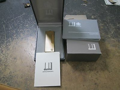 Vintage DUNHILL GOLD TONE RL 1401 CRISS CROSS DESIGN IN BOX WITH BOOKLET WARRENT