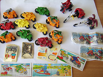 Vintage Kinder egg toy motorbikes x 14 friction, california dream trikes 1980s+