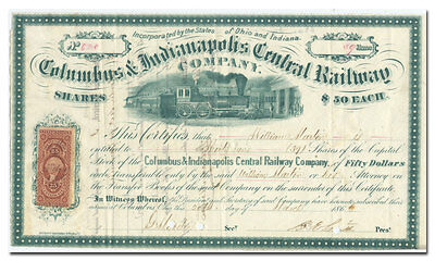 Columbus & Indianapolis Central Railway Bond Certificate (1866!!)