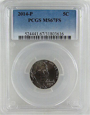2014-P Jefferson Nickel Pcgs Ms67Fs Full Steps