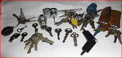 Lot of Misc. Keys on and off Key Rings, Cabinet lock and key, Desk Lock and Key