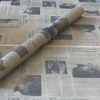 *Newsprint* Patterned Kraft Brown Wrapping Paper 2 metres x 50cm