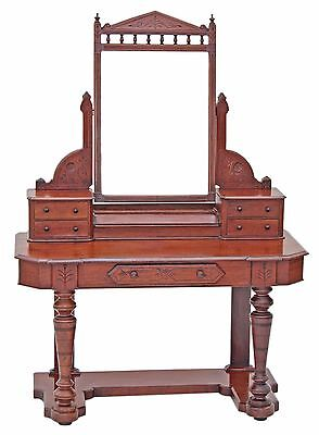 Antique large 19C Victorian mahogany walnut Duchess dressing table