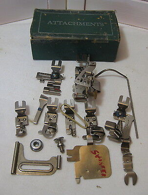 Vintage Griest Sewing Machine Attachments in Green Attachment Box 15 pcs