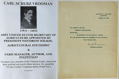 President Wilson Secy Agriculture Wwi Victory Garden Farm Reform Letter Signed !