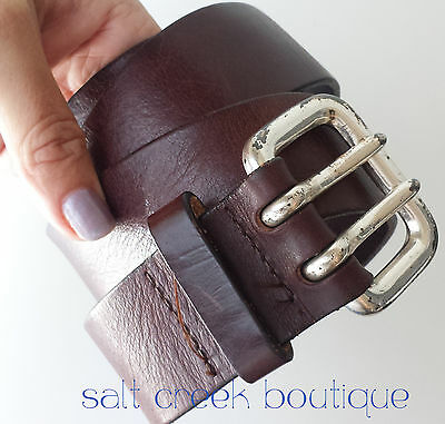 Vintage BOHO Express Dark Brown Leather Belt S/M Silver Double Prong Buckle