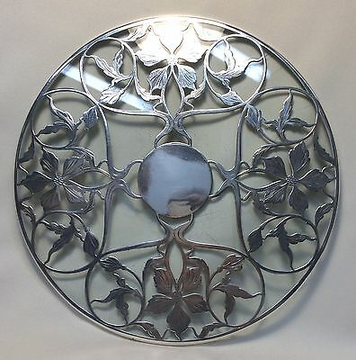 Antique ~ Art Nouveau ~ Sterling Silver Overlay / 10 inch Glass Trivet