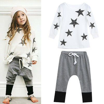 New Toddler Kids Girls Outfit Clothes Star Long Sleeve T-shirt +Long Pants 1Set