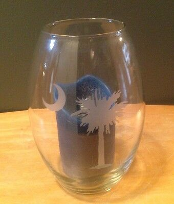 South Carolina Palmetto Moon Glass Candle Holder Etched Glass
