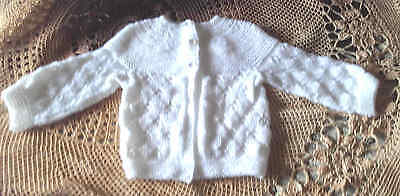 Hand Knitted White Baby Jacket
