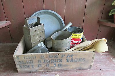 Antique Vintage Primitive Wooden Box Filled With Old Kitchen Items