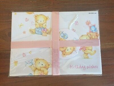 Joblot Of Baby Bear Wrapping Paper with Ribbon And Tag x20