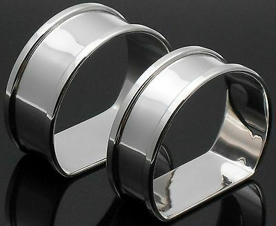 2x STERLING SILVER - STIRRUP SHAPE - NAPKIN RINGS - VINTAGE 1950 - NO INITIALS