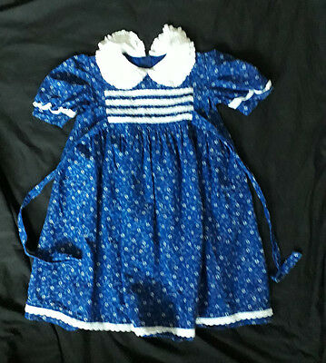 True Vintage smocked Broderie Anglais collar+frills Sailor Girl's dress age 6-7
