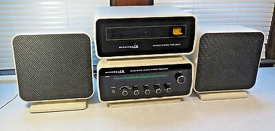 Vintage mid century Aircastle white stereo system 8 track weltron style WORKS!