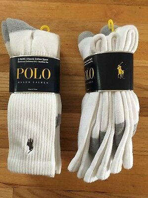 Polo Ralph Lauren Mens Socks 6 PAIRS White Gray NEW Classic Cotton Sport NWT $32