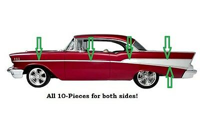 1957 Chevy Bel Air  Body Side Molding Set Stainless Trim  Hardtop Convertible 57