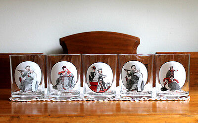 5 Norman Rockwell Beverage Glasses - Saturday Evening Post - Rocks Old Fashioned