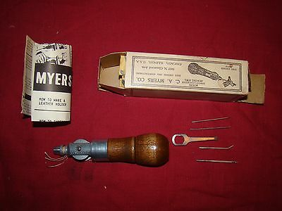 vintage C A Myers lock stitch sewing awl w/ box 4 needles tool instructions VGC