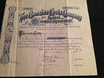 The Beeston Cycle Company Limited Original Signed Share Certificate 1898