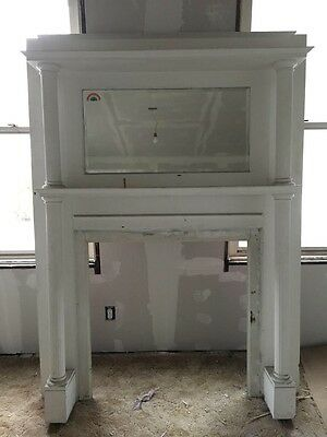 Antique Decorative Fireplace Mantel With Mirror