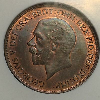 1930 Great Britain Penny NGC MS65BN Great Look