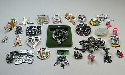 Costume Jewelry Pin Brooch Lot Scottish Clan Ribbon Awareness AS IS